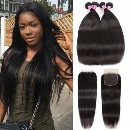 UNice cheveux  Icenu Séries 4 faisceaux raides vierges cheveux avec 4*4 ree Part Transparente fermeture en dentelle