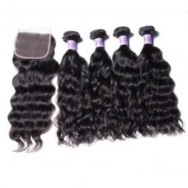UNice Cheveux Kysiss Série Péruvienne Gros 4 Faisceaux Vagues Naturelles Cheveux Vierges Avec Fermeture