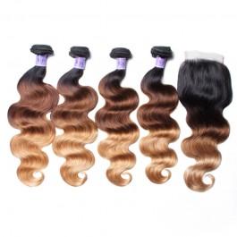 UNiceCheveux Kysiss Series 100% cheveux humains vierges T1B / 4/27 Ombre 4 faisceaux vague des corps avec fermeture