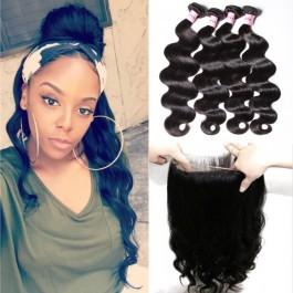 UNice Série Icenu cheveux Onde corporelle 360 Fermeture de dentelle avec4pcs Paquets de cheveux Vierges