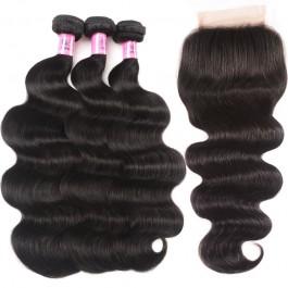 UNice cheveux péruvienne vague de corps dentelle fermeture avec 3pcs armure de cheveux humains Icenu série