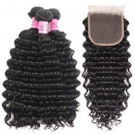 UNice Cheveux 3 faisceaux VIERGE vague humain en profonde des cheveux avec les fermetures en dentelle Icenu Series
