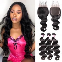 Unice Cheveux Icenu Series 3pcs 7A Bundles de vagues de corps vierges avec fermeture en dentelle 5x5
