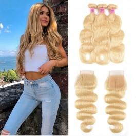 UNice 100% cheveux humains vierges 3PCS 613 vague des corps de couleur blonde avec fermeture en dentelle 4x4
