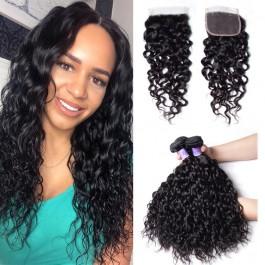 UNice Cheveux Kysiss Série 3 Pcs / lot Malaisien Non Transformés Cheveux Vierges Eau Tisse Avec Fermeture En Dentelle