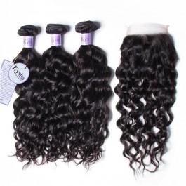 UNice cheveux Séries Qualités 3 Faisceaux 8A Naturelles Vagues Des Cheveux Avec Les Fermetures En Dentelle