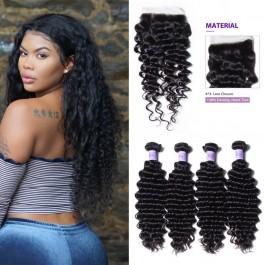 UNice cheveux Kysiss série qualité brésilienne vague profonde cheveux vierges 4 faisceaux avec fermeture
