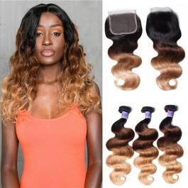 UNice Cheveux Kysiss Series T1B / 4/27 Ombre 3 Bundles vagues des corps avec la fermeture100% vierge humain des cheveux