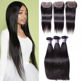 UNice Cheveux Brésiliens Droites Vierges Cheveux 3 Bundles Avec Fermeture En Dentelle Kysiss Série