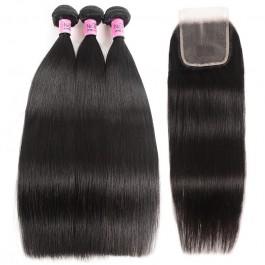 UNice Cheveux 3 regroupe la trame des  cheveux droites péruviennes avec la série Icenu de fermeture