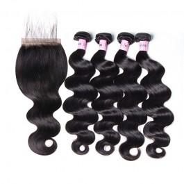 Unice cheveux Icenu série 5x5 Body dentelle de vague Fermeture avec de vague de corps Virgin Bundles cheveux