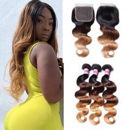 UNice cheveux T1B / 4/27 Ombre 3 faisceaux vague de corps avec fermeture 100% cheveux humains vierges Icenu série cheveux