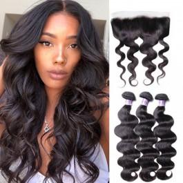 UNice cheveux 3 pcs vague des corps cheveux trame avec dentelle frontale fermeture série Kysiss