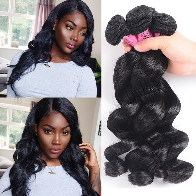 UNice Cheveux Icenu Série Brésilien Vague Lâche Vierge des  Cheveux 3 Bundles
