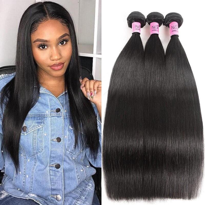 UNice cheveux  Icenu Séries 3pcs / paquet  péruvienne droite cheveux humains viergese