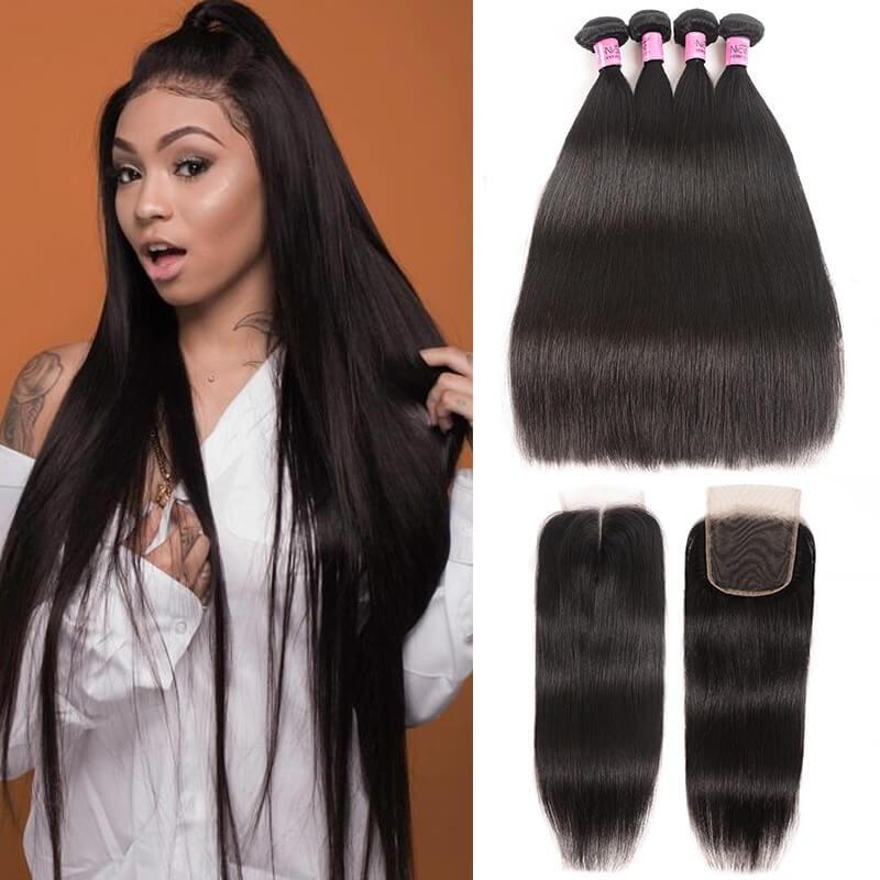 UNice cheveux cenu Séries Péruvienne Cheveux Vierges Droites Avec Fermeture 4 Faisceaux Épais