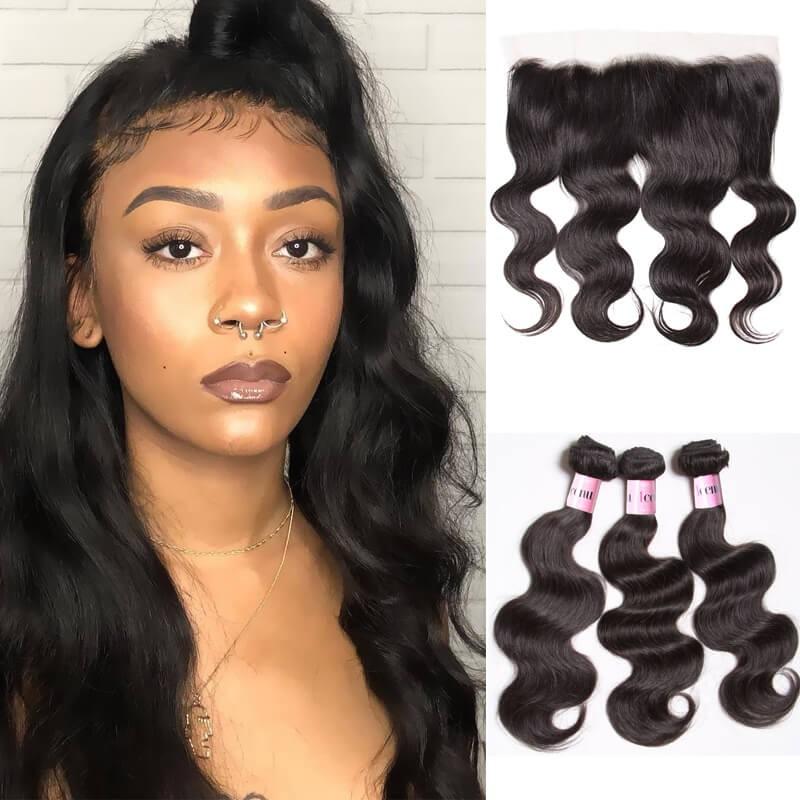 Unice cheveux 3 Bundles vague de corps cheveux avec dentelle Frontal Fermeture Série Icenu cheveux