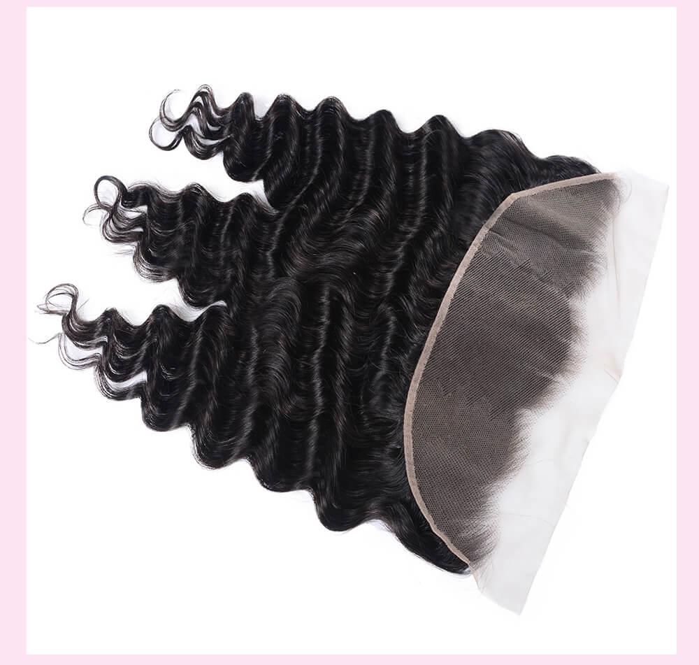 Loose Deep Wave Virgin Human Hair Lace Frontal Closure