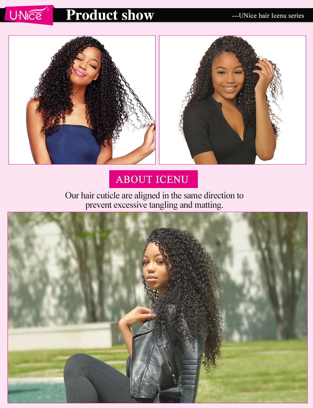 UNice hair icenu series Jerry Curly Hair customer show