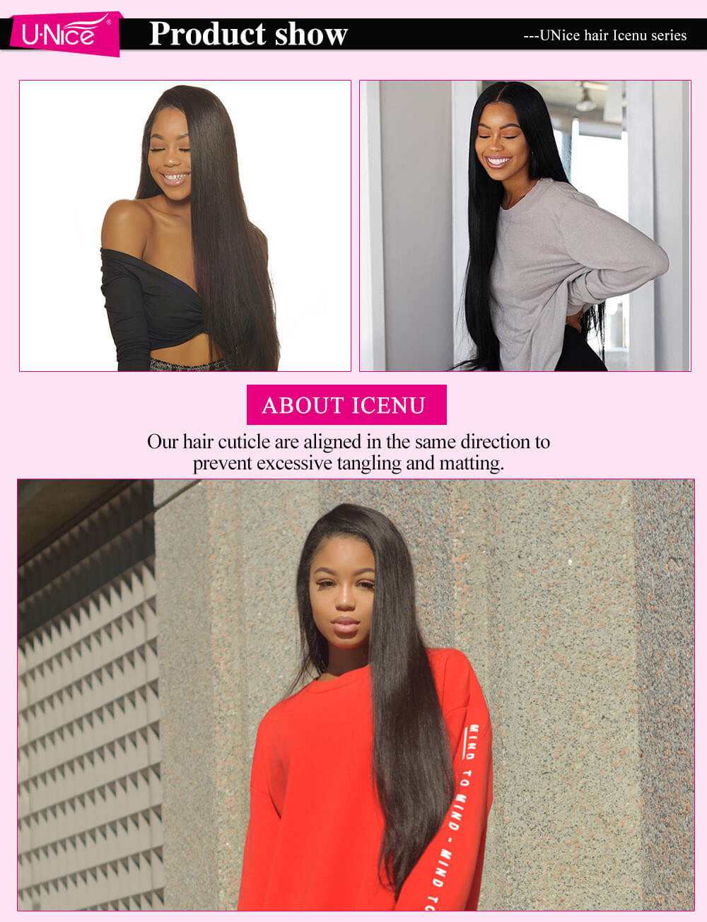 UNice hair icenu series straight hair customer show