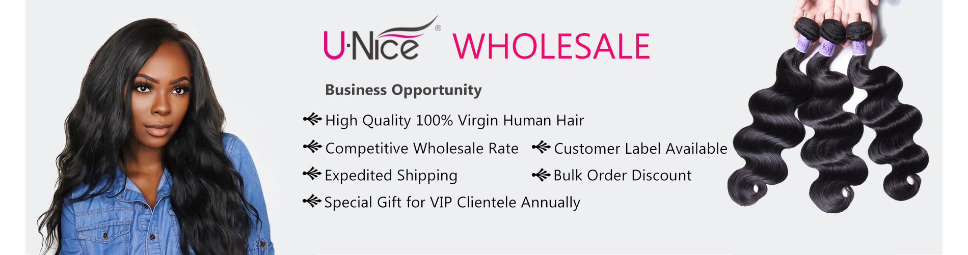 UNice wholesale 100% virgin human hair