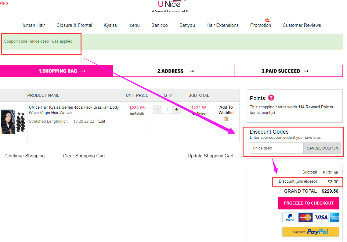 Shopping Cart Page of UNice Mall